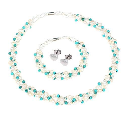 STUNNINGBOUTIQUE Iconic turchese naturale e perla parure collana, bracciale e orecchini con chiusura magnetica–presentato in una bella confezione regalo