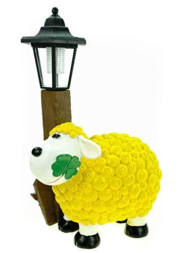 Kremers Schatzkiste Schaf Molly mit LED Solarlaterne 36 cm gelb Figur Skulptur Tier Bauernhof Solar Laterne