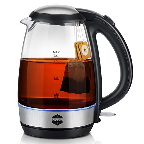 Miosal 1.7L Instant Electric Kettle, Electric Tea Kettle, FDA Compliance BPA-free, Glass Kettle Water Boiler, Auto Shut-Off and Boil-Dry Protection 1500W