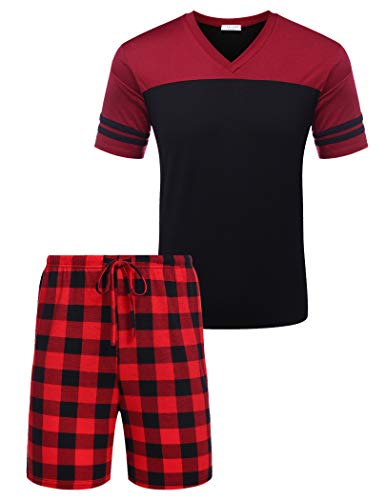 Avidlove Schlafanzug Herren Kurz Pyjama Nachtwäsche Set Nightwear Kurzarm Anzug 2-Teiler Shorty inkl. Hose Oberteile für Männer Zuhause Schwaz M