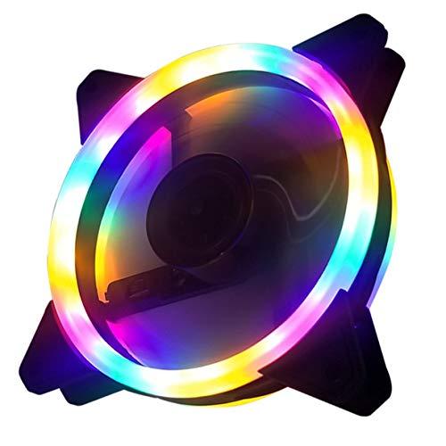 Morninganswer 12Cm Dual Aurora Ventilador de Doble Apertura Estuche RGB Ventilador Estuche para PC Ventilador Glare Coolercase Verstelbare Computadora Koelventilator
