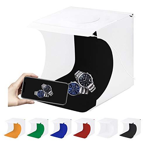 TKOOFN Mini Fotostudio Schießzelt, Tragbar Faltbar Fotografie Studio Lichtbox Softbox Kit Zelt mit 6 Farben Backdrops + 2 LED Streifen für Kleiner Gegenstand Fotografie (24 x 23 x 22cm)