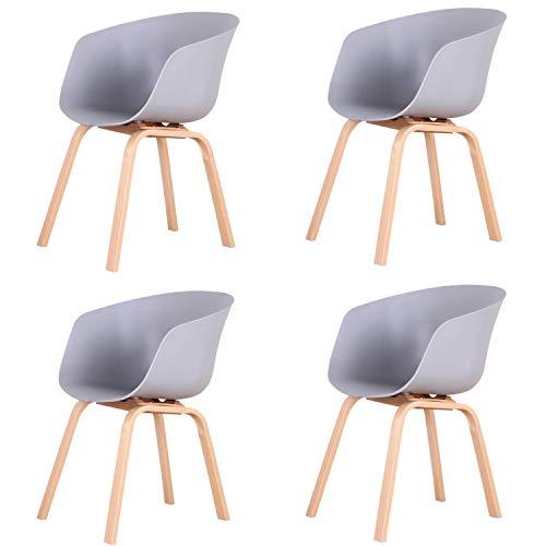 Un conjunto de cuatro sillas modernas de negociación de ocio de madera maciza sencillas, con reposabrazos, para comedor, dormitorio o sala de reuniones (gris)