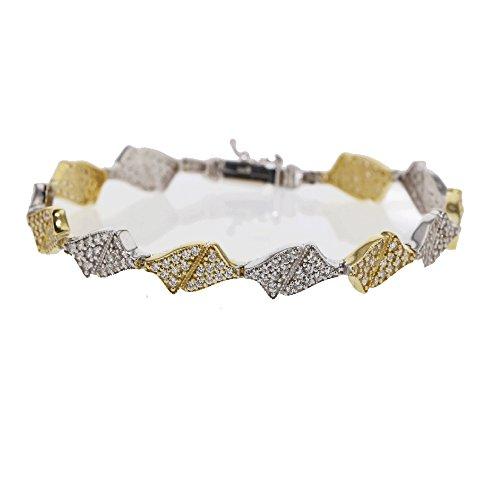 Designarmband 585 Gelb-, Weißgold mit Zirkonia 14 Karat Damen Armband ca. 20 cm Schmuck 2773