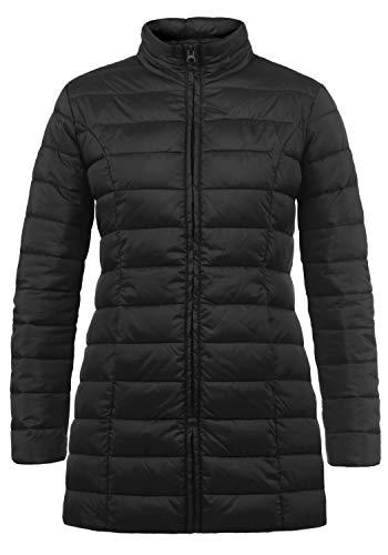 ONLY Britt Damen Steppmantel Übergangsmantel Lange Jacke gefüttert mit Stehkragen, Größe:S, Farbe:Black