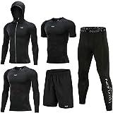 Mens Fitness - Set de 5 piezas de ejercicio, de manga larga, pantalón de compresión, color negro, tamaño 4XL