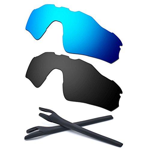 HKUCO For Oakley Radar EV Path Blue/Black Polarized Replacement Lenses And Black Earsocks Rubber Kit