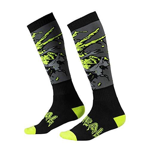 O\'NEAL | Mountainbike Motocross Socken | MTB Downhill Freeride | Schweißabsorbierend, Verstärkter Fersen- und Sohlenbereich | Pro MX Sock Zombie | Unisex | Erwachsene | Schwarz Grün | Einheitsgröße