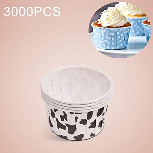 Great Deal! Luoshan 3000 PCS Cow Spot Round Lamination Cake Cup Muffin Cases Chocolate Cupcake Liner...
