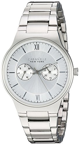 Caravelle New York Men's Analog-Quartz Watch with Stainless-Steel Strap, Silver, 0.72 (Model: 43A134)