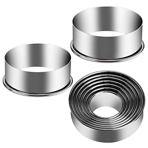 Eokeanon 9 piezas de Moldes de anillo para cocina, cortador de galletas redondo, cortadores de galletas de acero inoxidable de Moldes para hornear de anillos de metal que van 2-6...