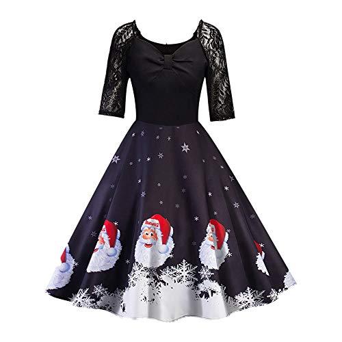 Damen Kleid Große Größen FGHYH Weihnachtsfrauen-halbes Hülsen-Spitze-Patchwork-Druckweinlese-Kleid-Party-Kleid(Schwarz, XL)