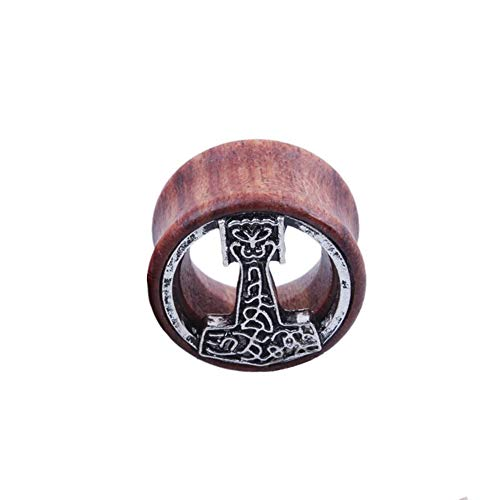 BlackAmazement Flesh Tunnel Plug Inlay Piercing Holz Wood Wikinger Mjölnir Malmer Thors Hammer Herren Damen (08 mm - 1 Stück)