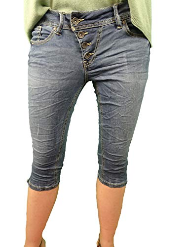 Buena Vista Damen Jeans Malibu-Capri Stretch Denim Roughed Denim - L