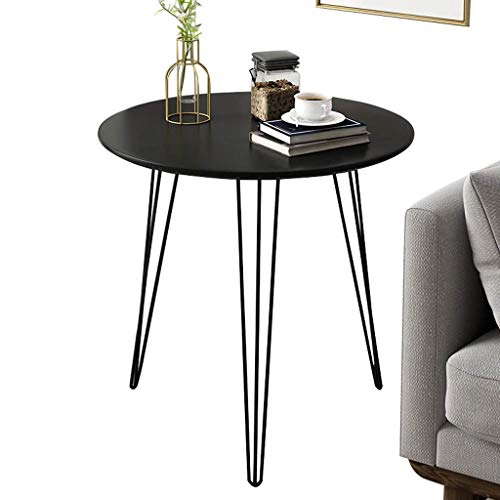 FACAIA Sofa Side End Laptop Table, Simple Home Negotiation Table , End Table Side, Metal Base , Wooden Top, Black/White Nesting Tables (Color : Black, Size : 50×50×55CM)