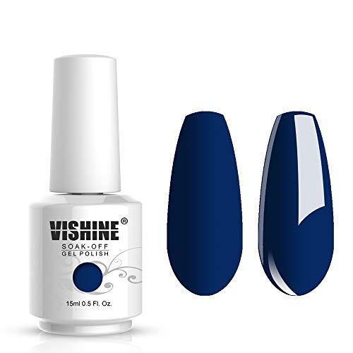 Vishine Gelpolish Lacquer Shiny Color Soak Off UV LED Gel Nail Polish Professional Manicure Royal Blue(1520)