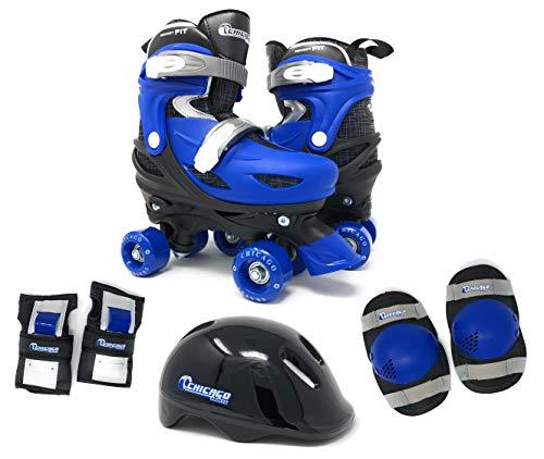 Chicago Skates Boys Quad Roller Skates Combo with Protective Gear - Black/Blue - Medium Sizes 1-4