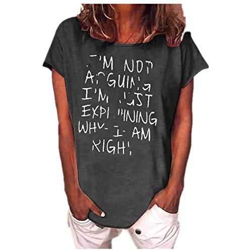 Letra Impreso Mujer Camisetas Casual Camiseta Divertida Manga Corta Camiseta O-Cuello Camisetas Nuevas Señoras Top
