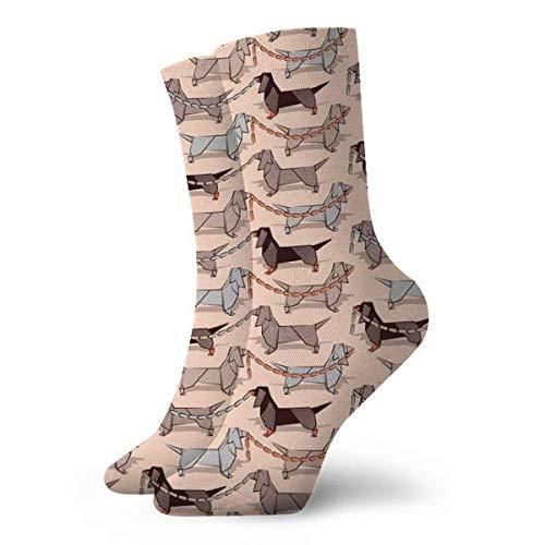 Nifdhkw Origami Dachshunds Sausage Dogs Flesh Background Socks for men Light Socks Classic Leisure Sport Short Socks 30cm/11.8inch