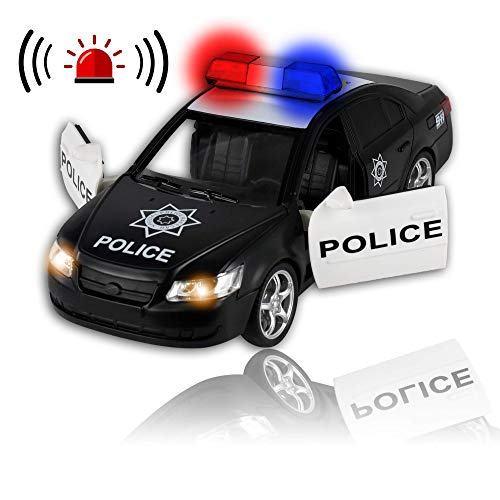 WolVol Friction Powered Police Car - Push & Go Heavy Duty Plastic Vehicle Toy - Lights & Sirens