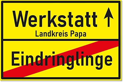 SIGN.ature Werkstatt Schild als Ortsschild - Geschenkidee zum Geburtstag für den Vater oder zum Vatertag von Papa Kunststoffschild 20 x 30 x 0,3 cm (Papa Gelb)