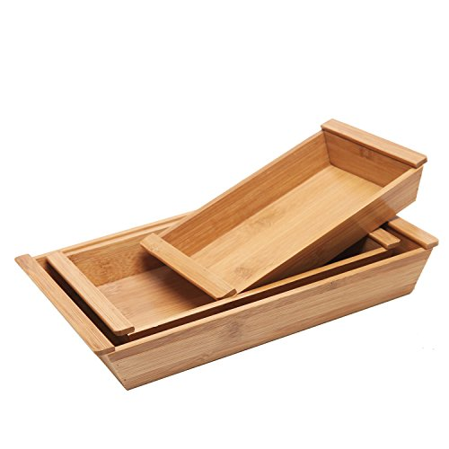 MyGift Set of 3 Small Natural Bamboo Nesting Organizer/Multipurpose Serving Trays with Handles
