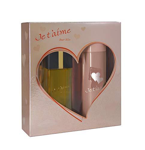 JE T'AIME Pour Elle • Coffret pour Femme • Eau de Parfum 100 ml + Déodorant 150 ml • Vaporisateur • Spray • Parfum Femme • Cadeau • EVAFLORPARIS