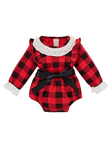 Mamelucos para recién nacidos, ropa de Navidad, diseño de cuadros rojos, estampado de botones y trajes para niños pequeños, rosso, 6 mes
