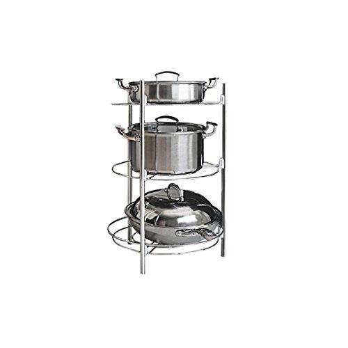 LITINGMEI Shelf LT Küchenregal-Edelstahl-Racks setzten Topf-Gestell-Küche Supplies Storage Pot-Gestell (größe : 3-Layer Size: 38 * 60cm)