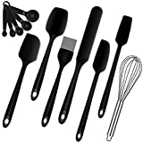 Food Grade Silicone Spatula Set - Heat Resistant Rubber Scraper Spatulas Kitchen Utensils for Baking Cooking Mixing, Flexible Spatula Sets Brush Whisk Measuring Spoons Dishwasher Safe BPA-Free (Black)