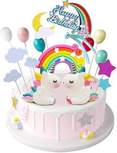 Layal Design Einhorn Cake Topper Figuren Set | Kuchendeko Tortendeko Tortenaufleger Kuchen Torte Torten Deko | Geburtstagsdeko Party Geburtstag Birthday Kindergeburtstag Mädchen
