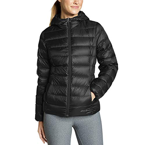 Eddie Bauer Women's CirrusLite Down Hooded Jacket, Black Petite S