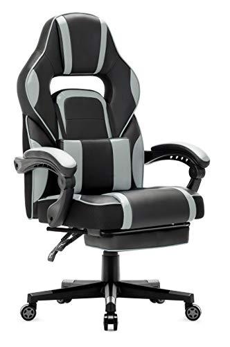 IntimaTe WM Heart Racing Stuhl, Gaming Stuhl mit Hoher Rückenlehne, Ergonomischer Bürostuhl aus Kunstleder, Chefsessel mit Taillenstütze und ausziehbarer Fußstütze, Grau