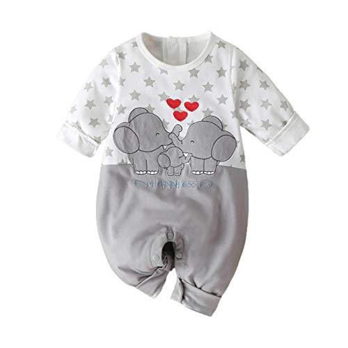 Xuefoo Newborn Baby Boy Girl - Pelele de manga larga con estampado de elefante gris 3-6 Meses