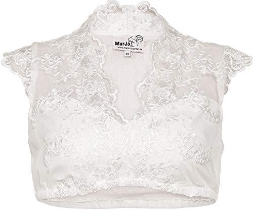 MarJo Damen Dirndl-Spitzen-Bluse V-Ausschnitt Offwhite, Offwhite, 34