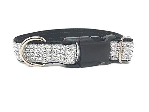 Big Pup Pet Fashion Black and White, Rhinestone, Glitter, Dog Collar, Girls, Female, Boys, Male, Fancy, Bling, Sparkly (XL 1