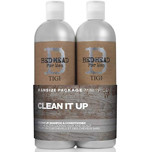 Bed Head for Men by Tigi – Clean Up, set de champú y acondicionador de uso diario para hombre, 2 x 750 ml