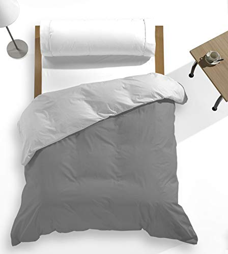 Catotex - Funda nórdica Reversible Bicolor Liso para edredón 50% algodón 50% Poliester. Cama de 105 cm Gris/Perla