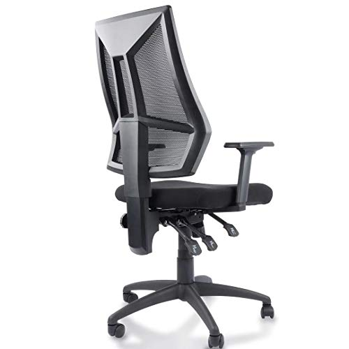Office Chair, Ergonomic Desk Chair, Mesh Computer Task Swivel Chair High Back with Adjustable Arms, Seat and Back, Black