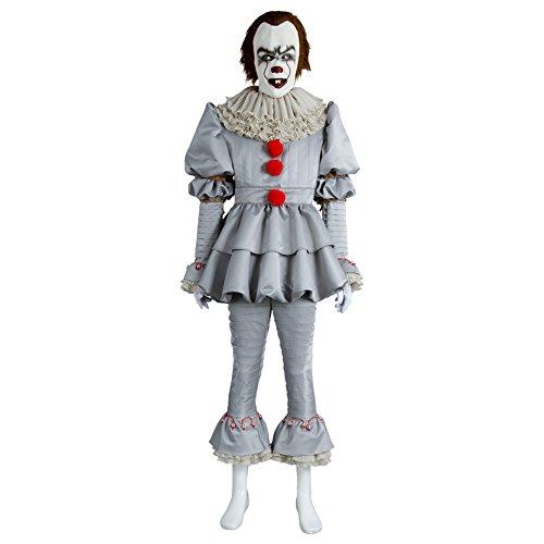 Fuman Horror Clown Kostüm - Joker Narr Cosplay Deluxe Outfit für Halloween Fasching Karneval 2017, Erwachsene Damen M