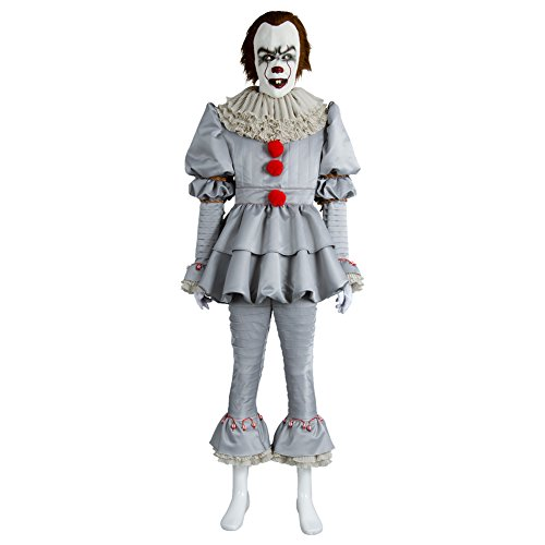 Fuman Horror Clown Kostüm - Joker Narr Cosplay Deluxe Outfit für Halloween Fasching Karneval 2017, Erwachsene Herren XL