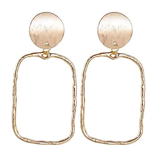 GUOZHENG Pendientes Grandes Geométricos Hechos A Mano De Oro para Mujer, Joyería De Perlas De Cristal, Joyería Simple, Colgante De Gota, Moda Larga