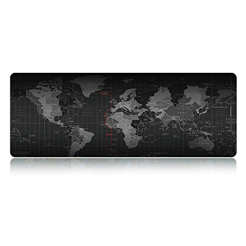 LIEBIRDExtended XXL Gaming Mouse Pad - Portable Large Desk Pad - Non-Slip Rubber Base (World Map 31.5'x11.8'x3mm)