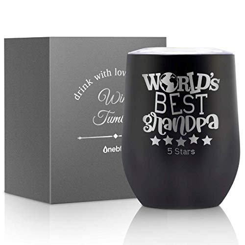 Copa de vino de abuelo, regalos de abuelo para el día del padre/cumpleaños/Navidad de nieto/nieta, taza de café de 12 oz con tapa y caja - World's Best Grandpa