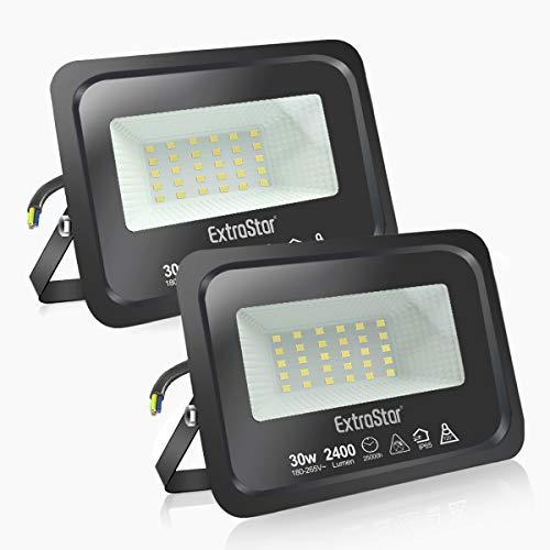 Faretti a LED per esterni Potenti luci a LED per esterni IP65, giardino, patio, parco, garage,2 Pezzi (6500K, 30W)