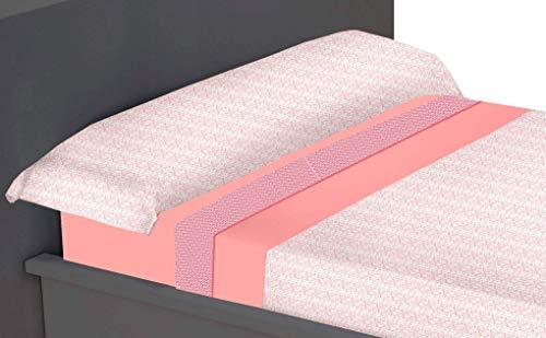 ADP Home - Juego de sábanas Estampadas Cross 3 Piezas, Cama 135, Coral