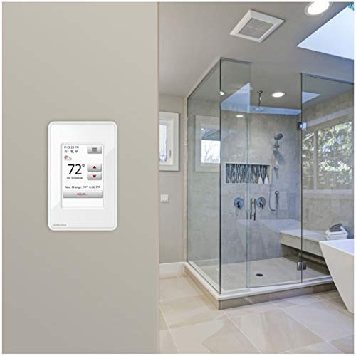 OJ Microline Electric Radiant Floor Heating Thermostat, Wifi Programmable Thermostat with GFCI, Dual Sensing, Dual Voltage, with Intuitive Touch Screen Interface, UWG4-4999, Includes Floor Sensor