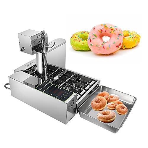 Automatische Donut Maker Maschine 4 Reihen, 2000 W Donut Maker Donut Snack Maschine aus Edelstahl,Kommerzielle Donut Friteuse,5,5L Hopper Donut Maschine,Donut Maker mit einstellbarer Dicke, Auto Flip