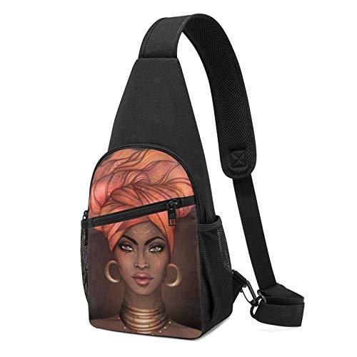 DJNGN Sac à dos à bandoulière femme africaine avec bandeau sac à bandoulière sac à bandoulière sac à bandoulière voyage randonnée sac de poitrine sac à dos