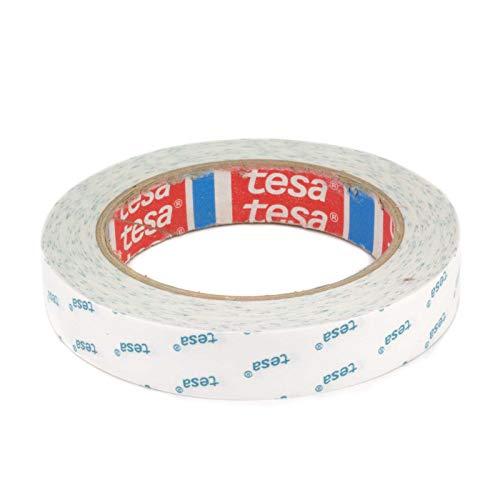 DonDo tesa 4943 Klebeband Bastel-Klebeband für Papier, Fotos, Stoffe doppelseitig transparent stark klebend mit Vliesträger 19mm x 20m